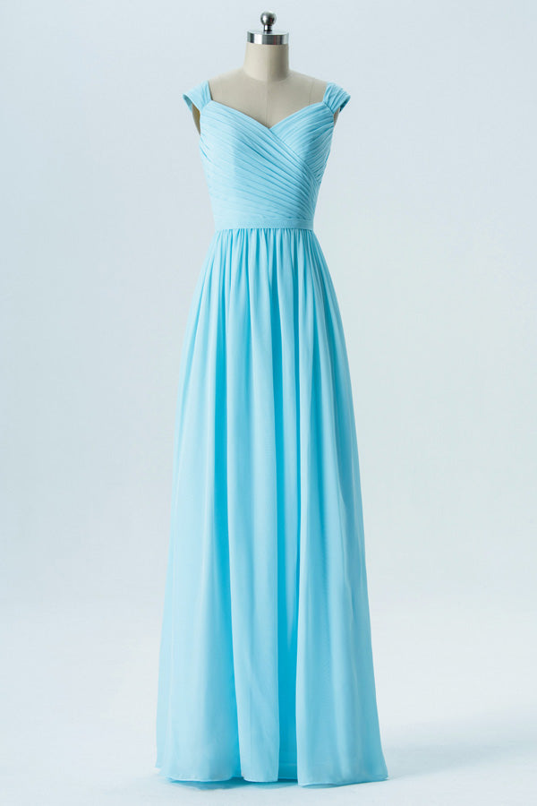 Pastel Blue A Line Floor Length Sweetheart Sleeveless Open Back Cheap Bridesmaid Dresses