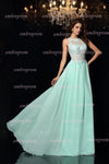 Mint A Line Sweep Train Sleeveless Keyhole Back Appliques Chiffon Prom Dress,Party Dress