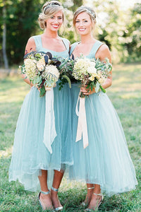 Blue A Line Asymmetrical Sleeveless Tulle Bridesmaid Dress, Wedding Party Dress B307 - Ombreprom