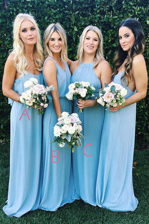 Blue A Line Floor Length Sleeveless Chiffon Simple Cheap Bridesmaid Dresses B218 - Ombreprom