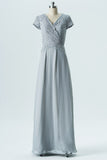 Storm Grey A Line Floor Length Capped Sleeve Lace Appliques Cheap Bridesmaid Dresses