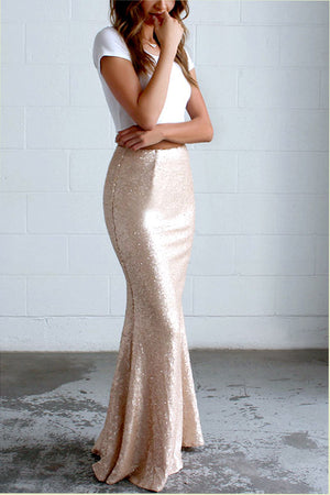 Two Piece Short Sleeve Prom Dress,Sparkle Mermaid/Trumpet Empire Evening Dress OMP34