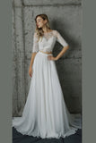White Two Piece A Line Sweep Train Half Sleeve Lace Wedding Dress,Beach Wedding Dress