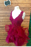Elegant A-line V-neck Lace Appliqued Organza  Homecoming Dresses M330