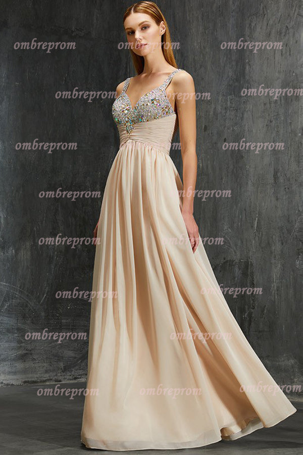 Peach A Line Floor Length Sweetheart Sleeveless Mid Back Beading Prom Dress,Formal Dress