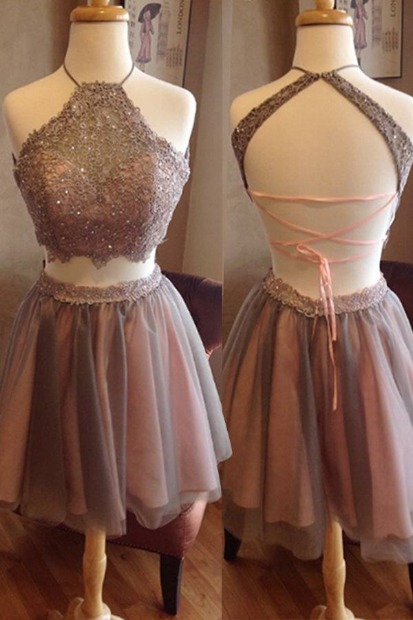 Two Piece A Line Halter Sleeveless Backless Appliques Beading Homecoming Dress