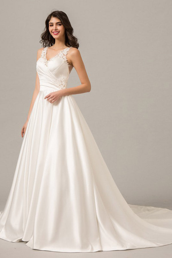 White A Line Court Train Sleeveless Sheer Back Appliques Wedding Dress,Perfect Wedding Gowns