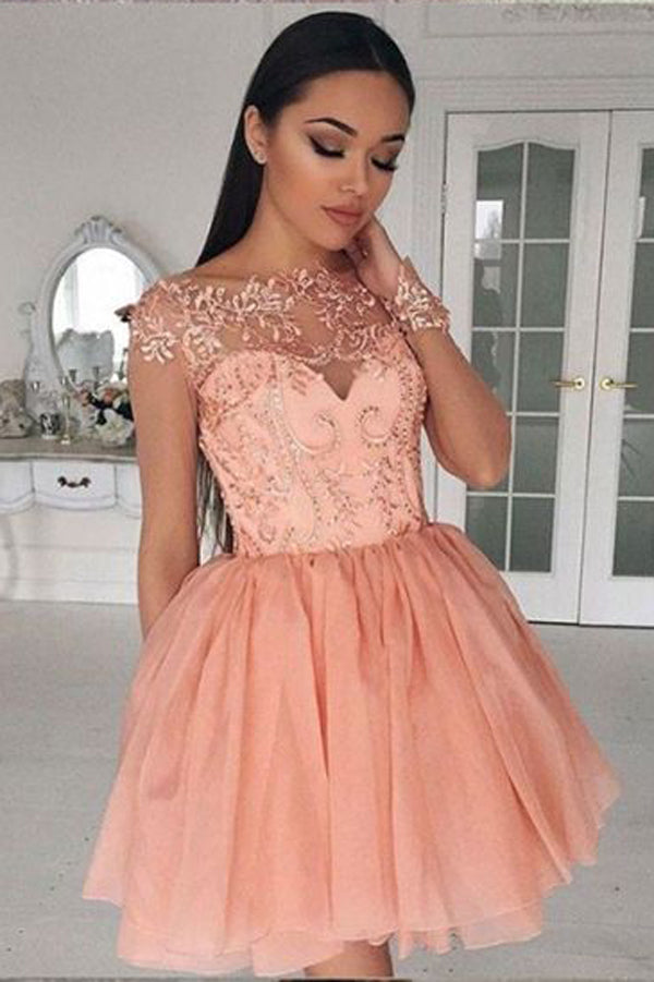 Long Sleeve Sheer Homecoming Dresses,Appliques Beading Short Prom Dress HCD134