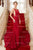 Red Trumpet Brush Train Straps Sleeveless Backless Spandex Prom Dress,Party Dress