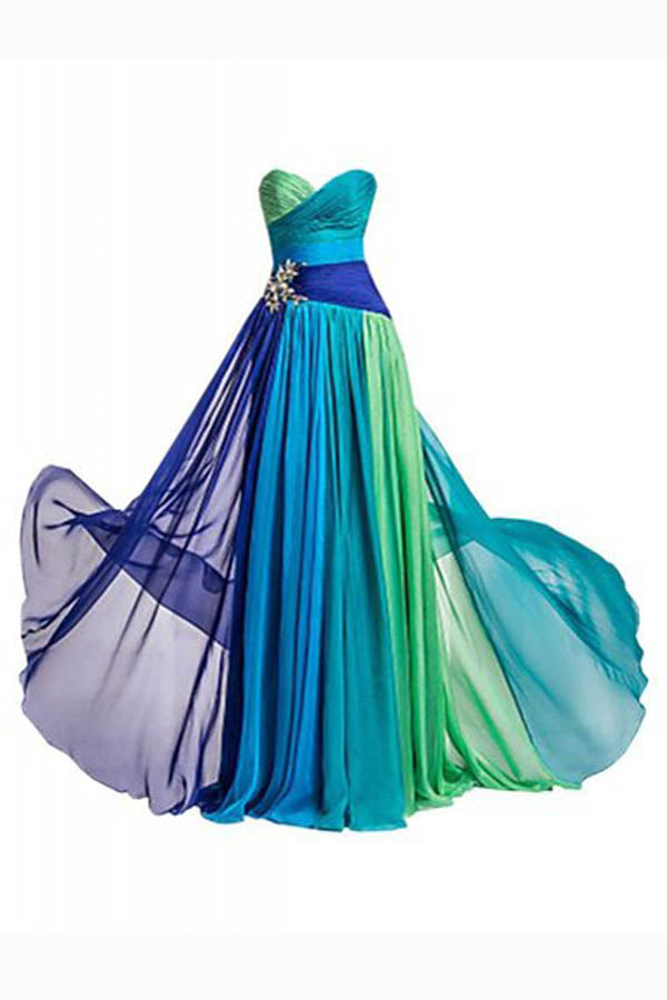 Ombre A Line Floor Length Sweetheart Strapless Sleeveless Prom Dress,Bridesmaid Dress