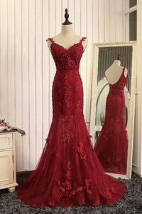Burgundy Trumpet Sweep Train V Neck Mid Back Appliques Beading Long Prom Dress,Party Dress P225 - Ombreprom