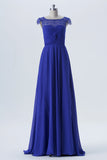 Classic Blue A Line Sweep Train Scoop Capped Sleeve Lace Appliques Cheap Bridesmaid Dresses B151 - Ombreprom