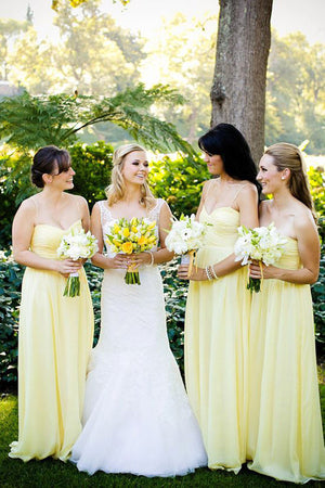 Yellow A Line Floor Length Sweetheart Spaghetti Mid Back Chiffon Cheap Bridesmaid Dress B226 - Ombreprom