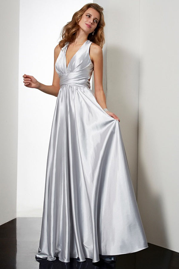 Silver A Line Floor Length Halter Sleeveless Pleats Elastic Woven Satin Prom Dress,Party Dress