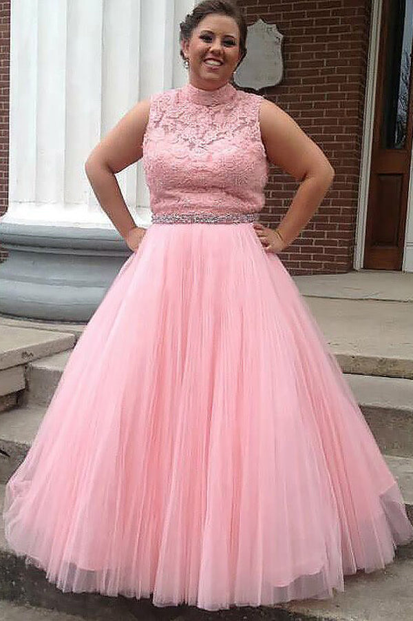 Pink A Line Floor Length Sleeveless High Neck Tulle Appliques Plus Size Prom Dresses