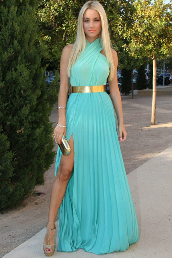 Green A Line Floor Lenght Halter Sleeveless Side Slit Chiffon Prom Dress,Party Dress