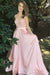 Pink A Line Brush Train Halter Deep V Neck Sleeveless Appliques Prom Dress,Party Dress P521