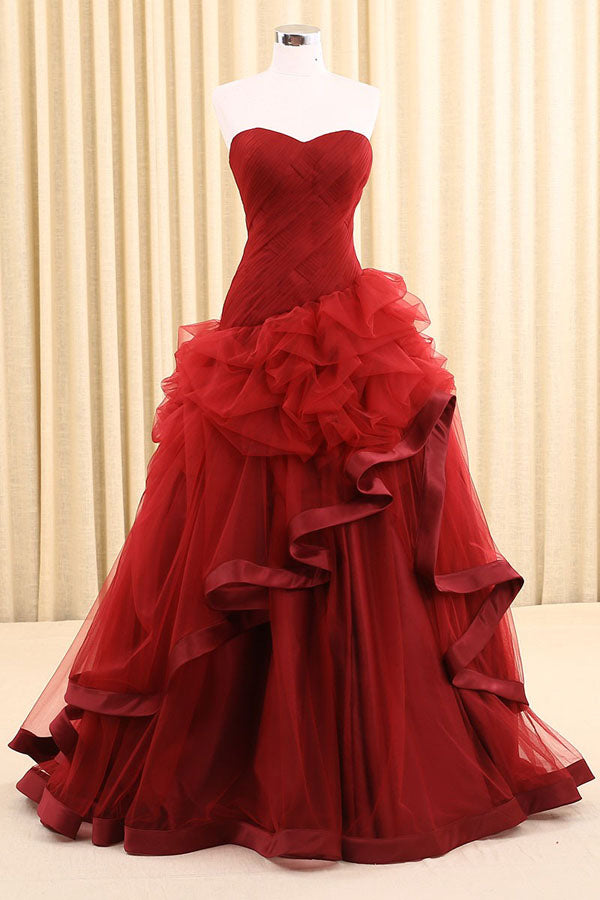 Red A Line Floor Length Sweetheart Strapless Sleeveless Mid Back Ruffles Prom Dress,Party Dress