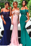 Pink Sheath Sweep Train Off Sholder Sleeveless Sparkle Cheap Bridesmaid Dress