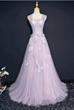 Pink A Line Brush Train Sleeveless Layers Tulle Lace Up Prom Dress,Party Dress