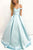 Light Blue A Line Brush Train Off Shoulder Sleeveless Prom Dress,Party Dress