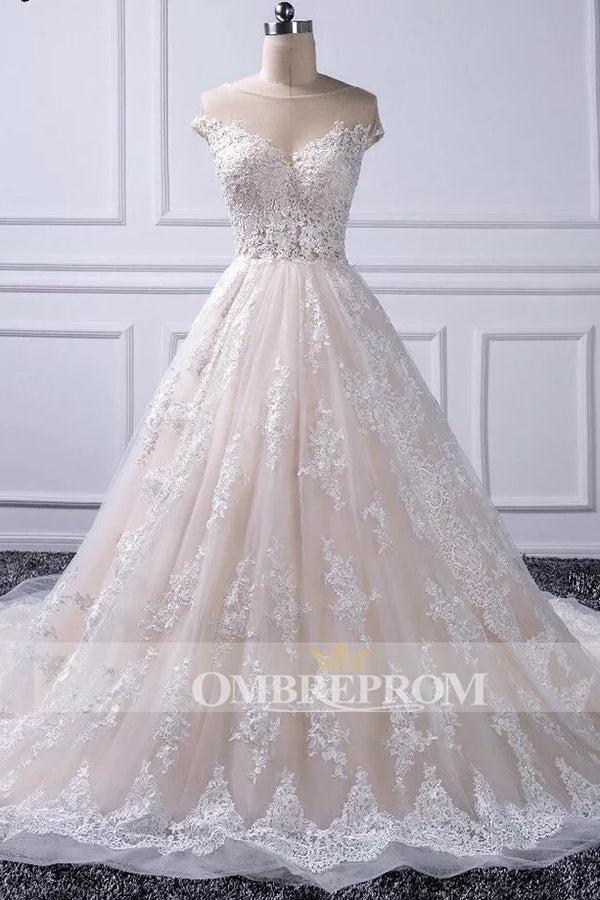 Elegant Sweetheart Tulle Lace With Appliques Wedding Dress W314
