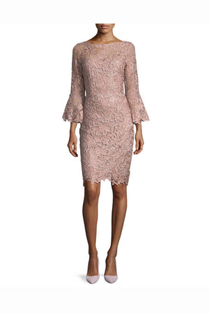 Pink Sheath Knee Length Bateau Neck 3/4 Sleeves Lace Mother of the Bride Dresses