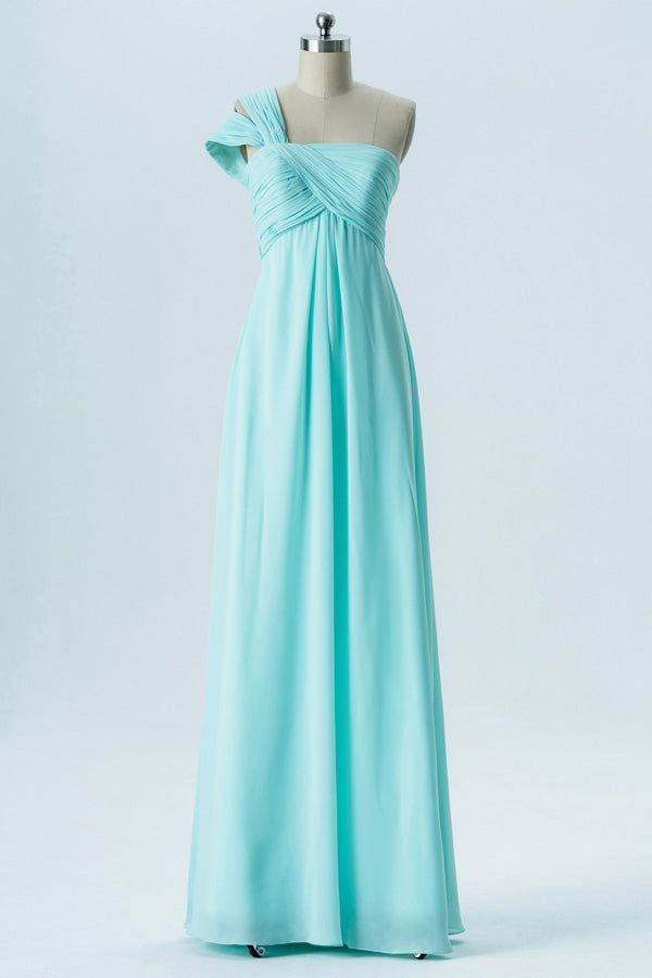 Hint of Mint A Line Floor Length One Shoulder Sleeveless Cheap Bridesmaid Dresses