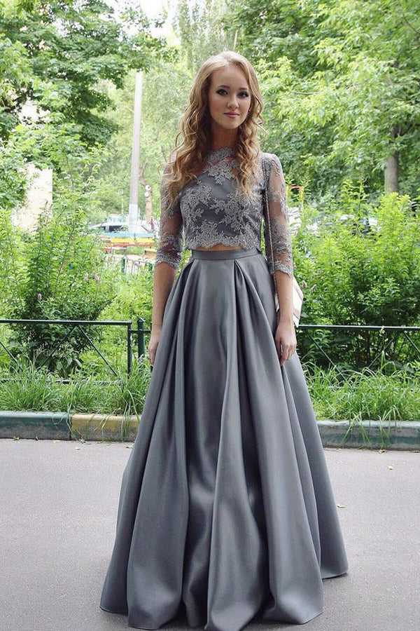 Gray Two Piece A Line Floor Length 3/4 Sleeve Lace Cheap Prom Dress,Evening Dress