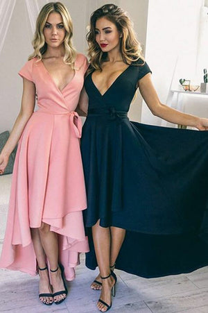 Pink A Line Asymmetrical Deep V Neck Capped Sleeve Prom Dress,Formal Dress