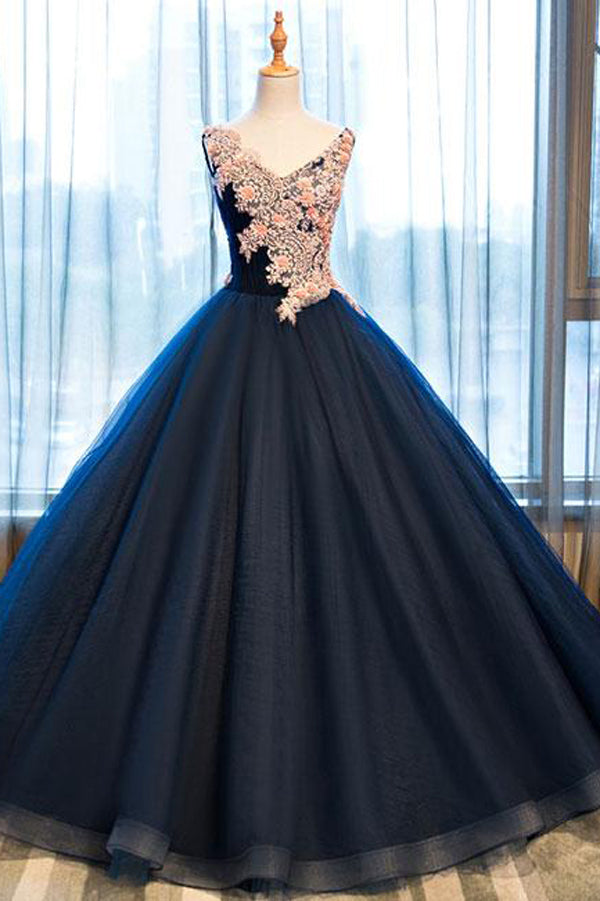 Navy Blue Ball Gown Floor Length V Neck Sleeveless Lace Up Floral Prom Dress,Party Dress