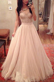 White A Line Floor Length V Neck Sleeveless Layers Tulle Cheap Prom Dress,Formal Dress P270