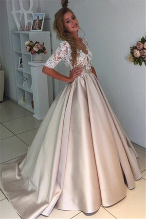 845881db40 A Line Sweep Train Deep V Neck Half Sleeve Sheer Back Lace Long Prom Dress