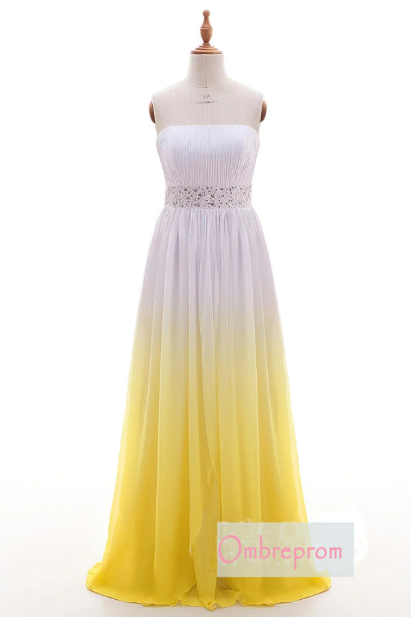 Ombre A Line Brush Train Strapless Sleeveless Lace Up Chiffon Prom Dress,Formal Dress