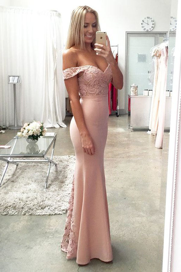 Pink Sheath Floor Length Off Shoulder Mid Back Appliques Prom Dress,Party Dress