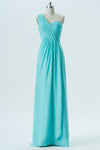 Turquoise A Line Floor Length One Shoulder Sleeveless Open Back Cheap Bridesmaid Dresses