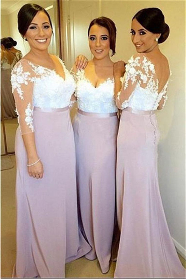 Pink Trumpet Floor Length Deep V Neck 3/4 Sleeve V Back Lace Appliques Cheap Bridesmaid Dress B254 - Ombreprom