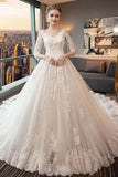 White A Line Chapel Train 3/4 Sleeve Appliques Wedding Dress,Perfect Wedding Dress
