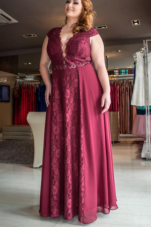 f8d61d18bef2f Burgundy A Line Floor Length Deep V Neck Sleeveless Lace Chiffon Plus Size  Prom Dresses S16