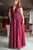 Burgundy A Line Floor Length Deep V Neck Sleeveless Lace Chiffon Plus Size Prom Dresses S16 - Ombreprom