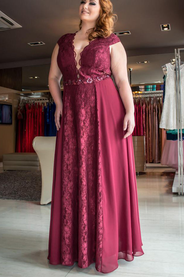 Burgundy A Line Floor Length Deep V Neck Sleeveless Lace Chiffon Plus Size Prom  Dresses S16 6b4d194e7