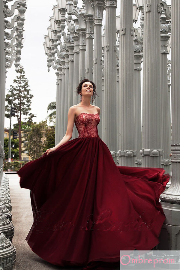 Burgundy A Line Court Train Strapless Sleeveless Mid Back Lace Prom Dress,Party Dress P524 - Ombreprom