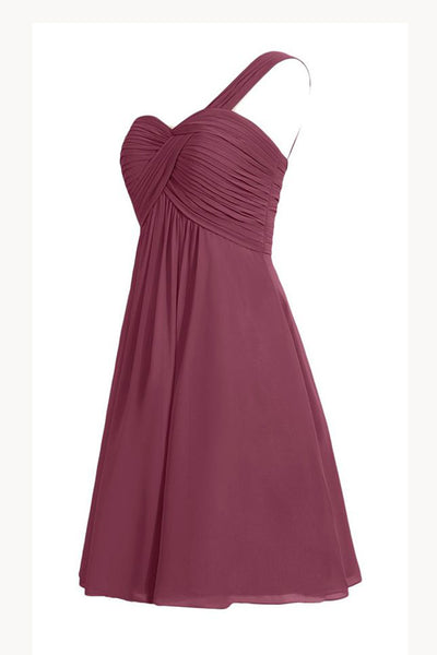 Burgundy A Line Knee Length One Shoulder Sleeveless Cheap Bridesmaid Dress,Homecoming Dress B279 - Ombreprom