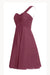 Burgundy A Line Knee Length One Shoulder Sleeveless Cheap Bridesmaid Dress,Homecoming Dress B279