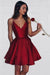 Burgundy Sweetheart Spaghetti Sleeveless Homecoming Dress, Short/Mini Prom Dress H248