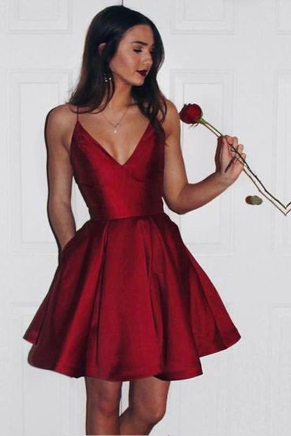 Burgundy Sweetheart Spaghetti Sleeveless Homecoming Dress, Short/Mini Prom Dress H248 - Ombreprom