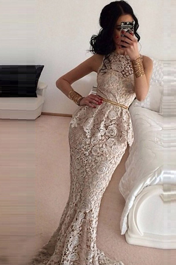 Trumpet Brush Train Bateau Neck Sleeveless Lace Prom Dress,Party Dress