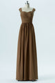 Warm Taupe A Line Floor Length Sweetheart Capped Sleeve Keyhole Back Cheap Bridesmaid Dresses