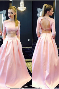 Pink Two Piece A Line Sweep Train Long Sleeve Keyhole Back Beading Long Prom Dress,Party Dress P239 - Ombreprom