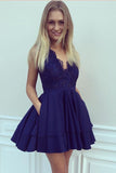 Navy Blue Deep V Neck Sleeveless Homecoming Dress,Appliques Ruffles Short/Mini Prom Dress